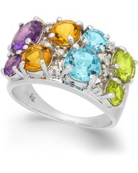 Macy's - Multi-gemstone (4-1/5 Ct. T.w.) & Diamond (1/10 Ct. T.w.) Ring In Sterling Silver - Lyst