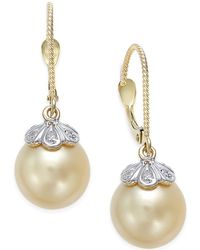 Macy's - Cultured Golden South Sea Pearl (10mm) And Diamond Accent Earrings In 14k Gold - Lyst