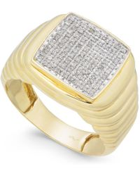 Macy's | Men's Diamond Cluster Ring (1/4 Ct. T.w.) In 10k Gold | Lyst