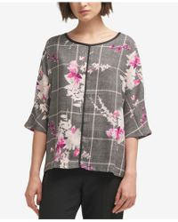 DKNY - Contrast-trim Printed Top, Created For Macy's - Lyst