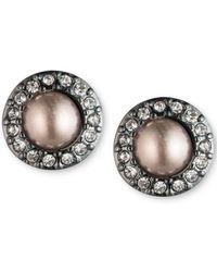 Carolee - Hematite-tone Pavé & Gray Imitation Pearl Stud Earrings - Lyst