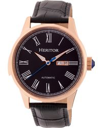 Heritor - Automatic Prescott Rose Gold & Black Leather Watches 43mm - Lyst