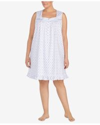 Eileen West - Plus Size Ruffle-hem Cotton Nightgown - Lyst