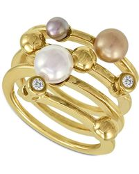 Majorica - Endless Pearl Ring, 18k Gold Over Sterling Silver Multicolour Organic Man Made Pearl Ring - Lyst