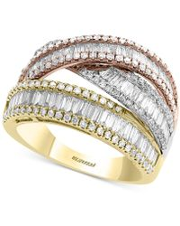 Effy Collection - Effy® Diamond Baguette Tricolor Ring (1-1/2 Ct. T.w.) In 14k Gold, White Gold & Rose Gold - Lyst