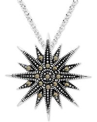 """Macy's - Marcasite Starburst 18"""" Pendant Necklace In Fine Silver-plate - Lyst"""