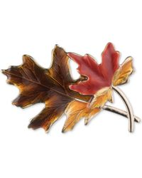 Anne Klein - Gold-tone Multicolor Harvest Leaf Pin, Created For Macy's - Lyst