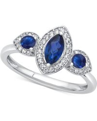 Macy's - Sapphire (3/4 Ct. T.w.) & Diamond (1/6 Ct. T.w.) Ring In 14k White Gold - Lyst