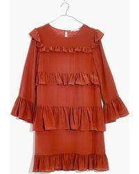 Madewell - Silk Waterlily Ruffle Dress - Lyst