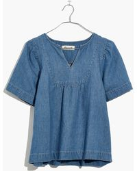 Madewell - Denim Popover Swing Top - Lyst