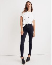 """Madewell - 9"""" High-rise Skinny Jeans In Berkeley Black: Button-through Edition - Lyst"""