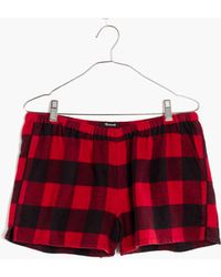 Madewell - Flannel Bedtime Pyjama Shorts In Buffalo Check - Lyst