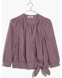 Madewell - Wrap Top In Gingham Check - Lyst