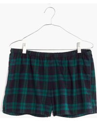 Madewell - Flannel Bedtime Pajama Shorts In Dark Plaid - Lyst