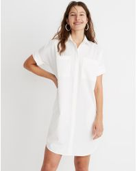 e852f11c47e Lyst - Madewell Sheer Check Shirtdress in White