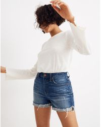 f8915bf680f Madewell High-rise Denim Shorts In Glenoaks Wash  Cutoff Edition - Lyst