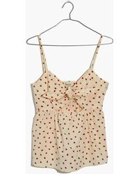 Madewell - Tie-front Keyhole Cami Top In Fresh Strawberries - Lyst