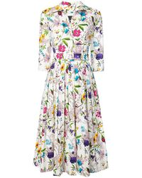 Samantha Sung - White Floral Avery Midi Buttoned Dress - Lyst