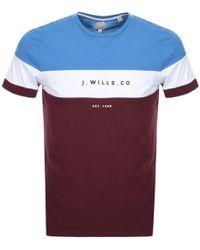 Jack Wills - Hales Colour Block T Shirt Burgundy - Lyst