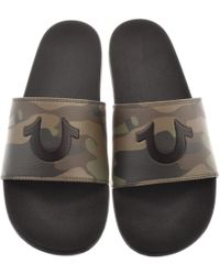 True Religion - Horseshoe Sliders Black - Lyst