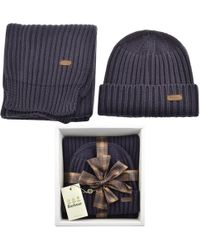 d0fb8cde0ae Barbour - Ribbed Knit Scarf And Hat Gift Set Navy - Lyst. BOSS Athleisure -  Boss Green ...