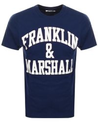 Franklin & Marshall - Crew Neck Logo T Shirt Navy - Lyst