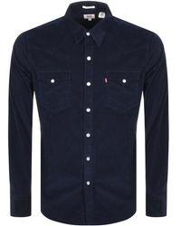 Levi's - Barstow Navy Corduroy Western Shirt - Mens M - Lyst