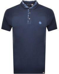 Pretty Green Paisley Carver Polo T Shirt Navy - Blue
