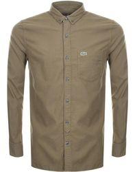 Lacoste L!ive - Long Sleeved Shirt Khaki - Lyst