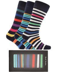 Paul Smith - Gift Set Triple Pack Stripe Socks Navy - Lyst
