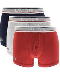 Lacoste - Underwear Triple Pack Boxer Trunks Red - Lyst
