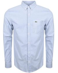 Lacoste L!ive   Long Sleeved Oxford Shirt Blue   Lyst
