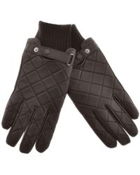 Barbour - Quilted Leather Gloves Brown - Lyst