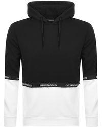 Armani Emporio Pullover Logo Tape Hoodie Black
