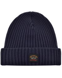 Paul & Shark - Paul And Shark Knitted Beanie Navy - Lyst