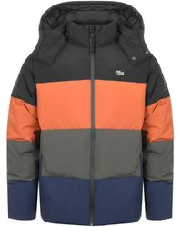 Lacoste - Full Zip Striped Padded Jacket Black - Lyst