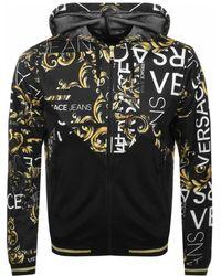 Versace Jeans - Full Zip Printed Hoodie Black - Lyst