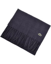Lacoste - Merino Wool Ribbed Scarf Navy - Lyst
