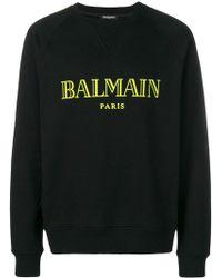 Balmain - Paris Print Fleece Sweatshirt - Lyst