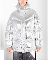 MM6 by Maison Martin Margiela - Silver Puffer Jacket - Lyst