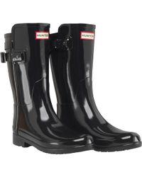 HUNTER - Original Refined Back Strap Short Gloss Wellington Boots Black - Lyst