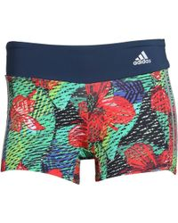adidas - Salinas 3 Stripe Climalite Tropical Shorts Iii Mineral Blue/reflective Silver/red/green - Lyst