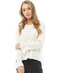 ONLY | Nova Solid Flounce Long Sleeve Top Cloud Dancer | Lyst