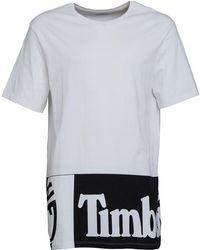 Timberland - Large Logo Longline T-shirt White - Lyst