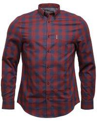 Ben Sherman - Long Sleeve Ombre Check Shirt Wine - Lyst