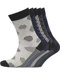 Jack & Jones - Manuel Five Pack Socks Dark Grey Melange - Lyst