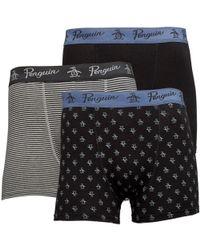Original Penguin - Three Pack Boxers Black/stripe - Lyst