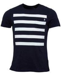 French Connection - 5 Stripe T-shirt Marine/white - Lyst