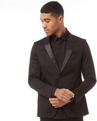 Superdry - Super Spy Suit Jacket Black Cotton Sateen - Lyst