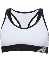 New Balance - Pace Sports Bra Top White/black - Lyst